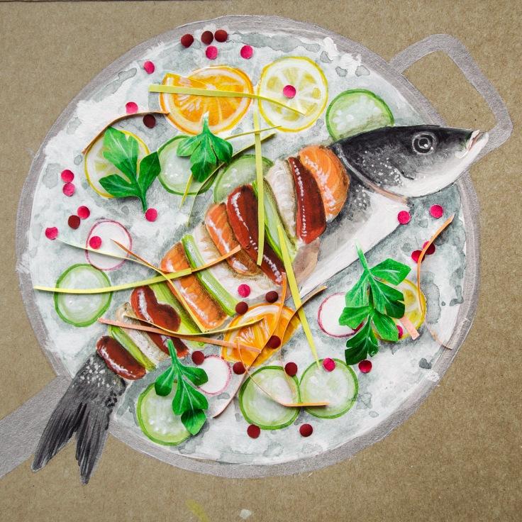 Piatti così belli da meritare un ritratto.  Questo piatto colorato e fresco di crudità di pesce si ispira alla cucina siciliana e fa parte del menù di  Piccola Cucina Estiatorio, ristorante italiano a New York.